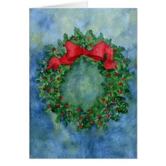 Christmas Holly Wreath Card