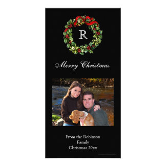 Christmas Holly Wreath Classic Black Holiday Personalized Photo Card