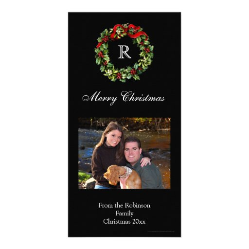 Christmas Holly Wreath Classic Black Holiday Photo Greeting Card