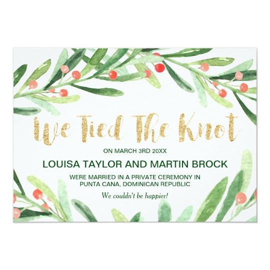 Christmas Holly Wreath Elopement Announcement