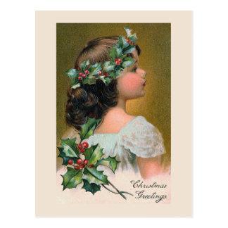 """Christmas Holly Wreath"" Greeting Card Postcard"