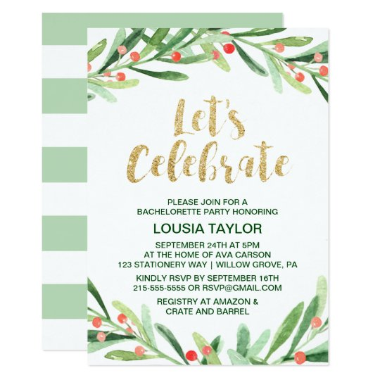 Christmas Holly Wreath Let's Celebrate Card