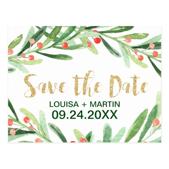 Christmas Holly Wreath Save the Date Postcard