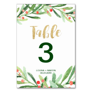Christmas Holly Wreath Table Number
