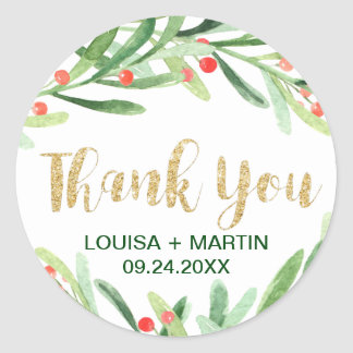 Christmas Holly Wreath Thank You Favor Classic Round Sticker