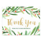 Christmas Holly Wreath Thank You Postcard