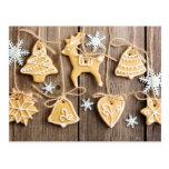 Christmas homemade gingerbread cookies postcard
