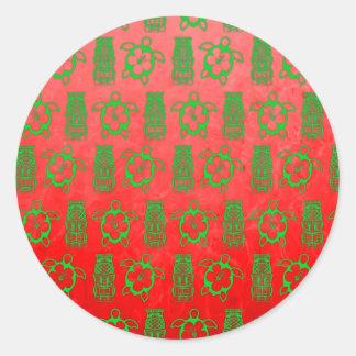 Christmas Honu And Tiki Classic Round Sticker