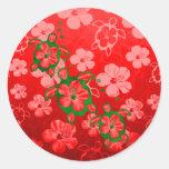 Christmas Honu Turtles Round Sticker