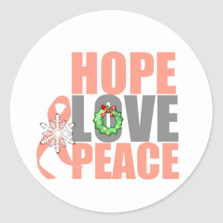 Christmas Hope Love Peace Endometrial Cancer Stickers