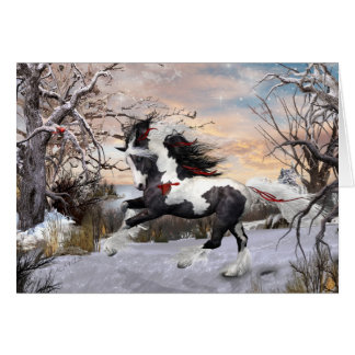 Christmas Horse 2 Gypsy Vanner Note Christmas Card