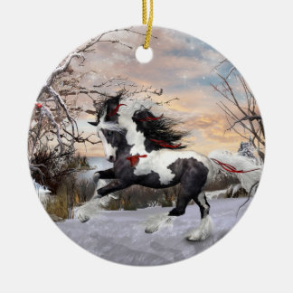 Christmas Horse 2 Gypsy Vanner Ornament