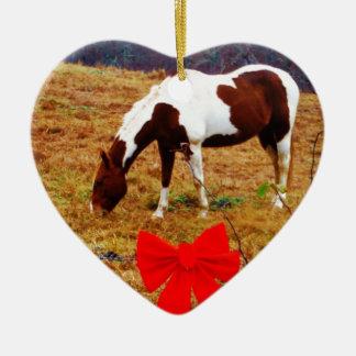 Christmas Horse Ceramic Heart Decoration