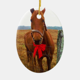 Christmas Horse Ceramic Oval Decoration