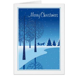 Christmas Horse Drawn Sleigh Snow Scene Greeting Cards