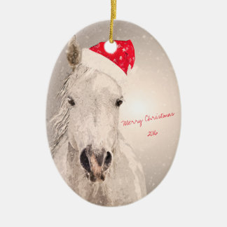 Christmas Horse Holiday Greetings Ceramic Oval Decoration