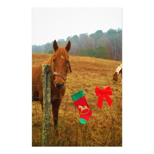 Christmas Horse with bow and stocking Custom Stationery