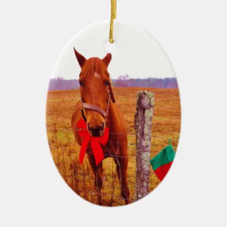 Christmas Horse with bow & stocking Ceramic Oval Decoration