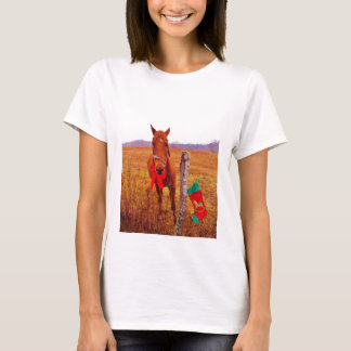 Christmas Horse with bow & stocking T-Shirt