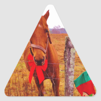 Christmas Horse with bow & stocking Triangle Sticker