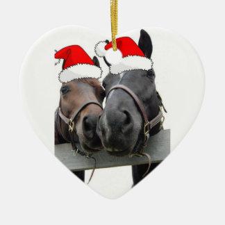Christmas Horses Ceramic Heart Decoration