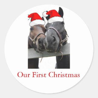 Christmas Horses Round Sticker