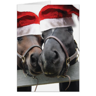 Christmas Horses With Santa Hats Card