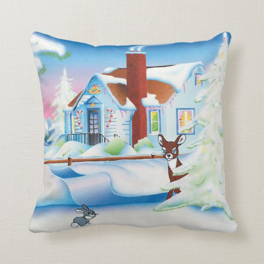 Christmas House: Cotton Throw Pillow