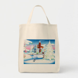 Christmas House Grocery Tote Grocery Tote Bag
