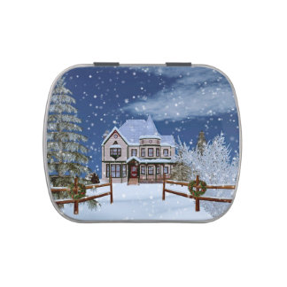 Christmas, House in Snowy Winter Scene Candy Tin