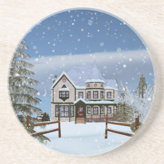 Christmas, House in Snowy Winter Scene Coaster