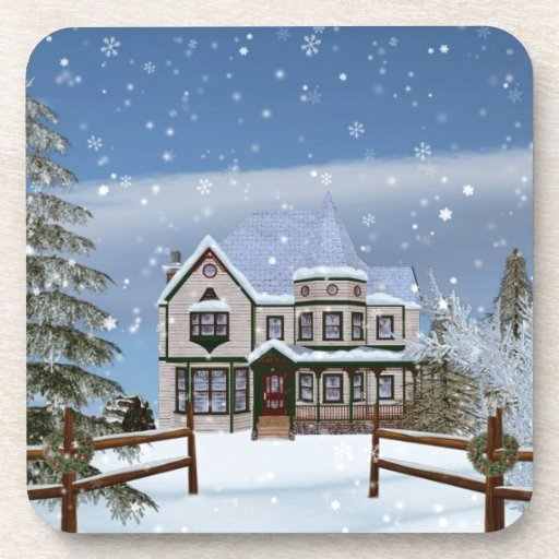 Christmas, House in Snowy Winter Scene Coasters