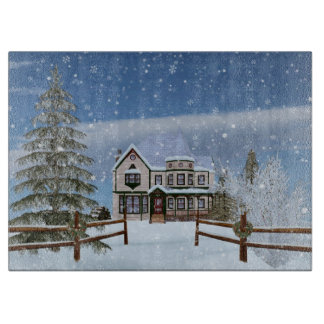 Christmas, House in Snowy Winter Scene Cutting Boards