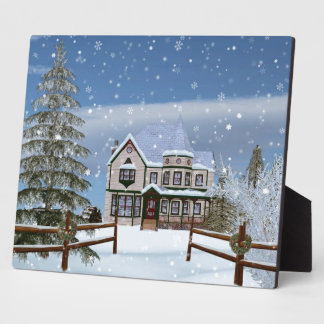 Christmas, House in Snowy Winter Scene Display Plaques