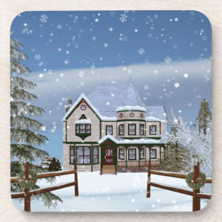 Christmas, House in Snowy Winter Scene Drink Coasters