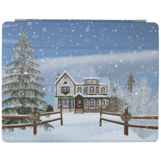 Christmas, House in Snowy Winter Scene iPad Cover