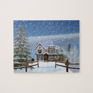 Christmas, House in Snowy Winter Scene Jigsaw Puzzle
