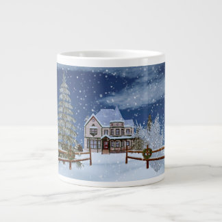 Christmas, House in Snowy Winter Scene Jumbo Mug