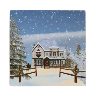 Christmas, House in Snowy Winter Scene Maple Wood Coaster