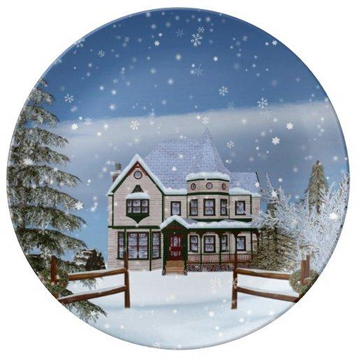 Christmas, House in Snowy Winter Scene Porcelain Plate