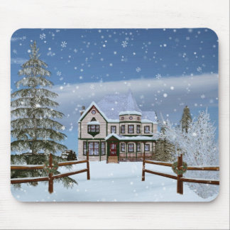 Christmas, House in Snowy Winter Scene Mouse Pad