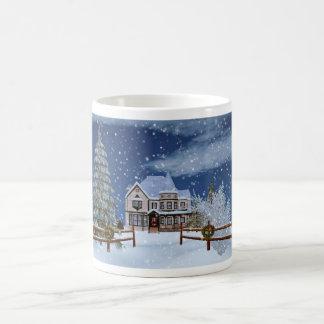 Christmas, House in Snowy Winter Scene Mug