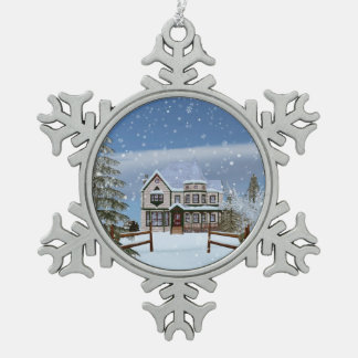Christmas, House in Snowy Winter Scene Pewter Snowflake Decoration