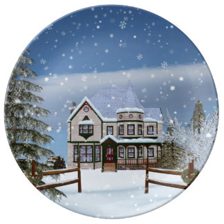 Christmas, House in Snowy Winter Scene Porcelain Plates