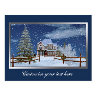 Christmas, House in Snowy Winter Scene Postcard