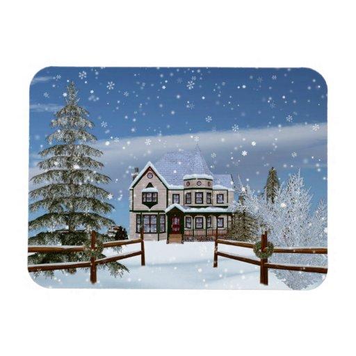 Christmas, House in Snowy Winter Scene Rectangular Magnet