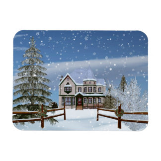 Christmas, House in Snowy Winter Scene Rectangular Photo Magnet
