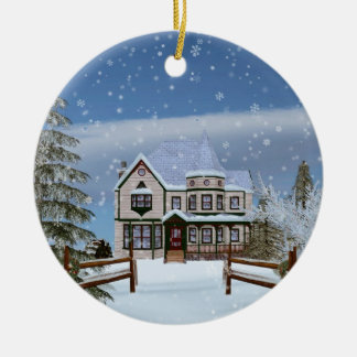 Christmas, House in Snowy Winter Scene Round Ceramic Decoration