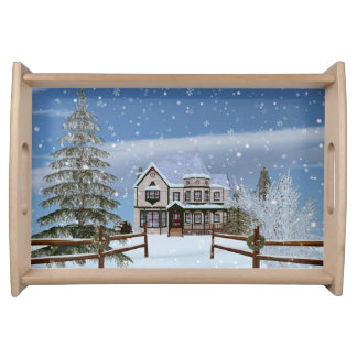 Christmas, House in Snowy Winter Scene Serving Tray