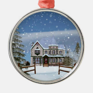 Christmas, House in Snowy Winter Scene Silver-Colored Round Decoration